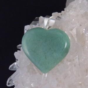 Colgante corazón aventurina y plata -La Tienda de los Minerales