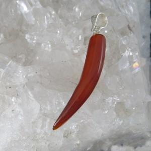 Colgante cuerno ágata cornalina y plata