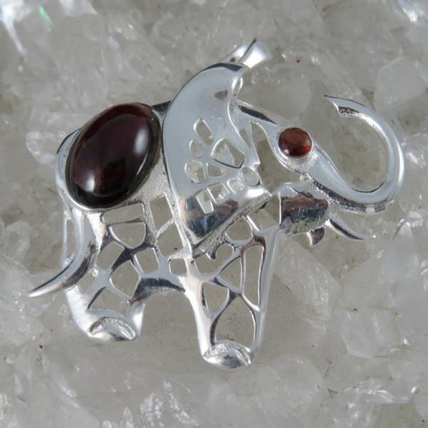 Colgante elefante de la suerte granate y plata