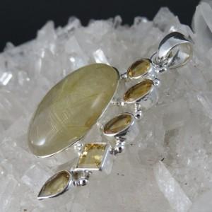 Colgante cuarzo rutilado, cuarzo citrino y plata