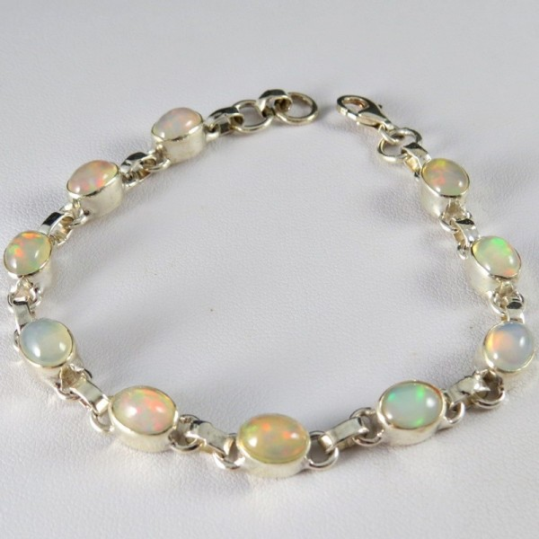 Pulsera joyería en plata ópalo blanco y plata