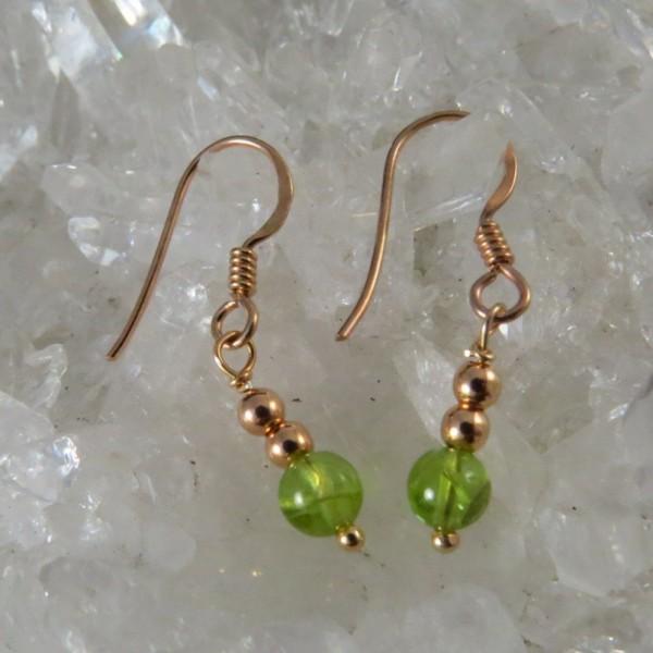Pendientes oro rosa y olivino - La Tienda de los Minerales