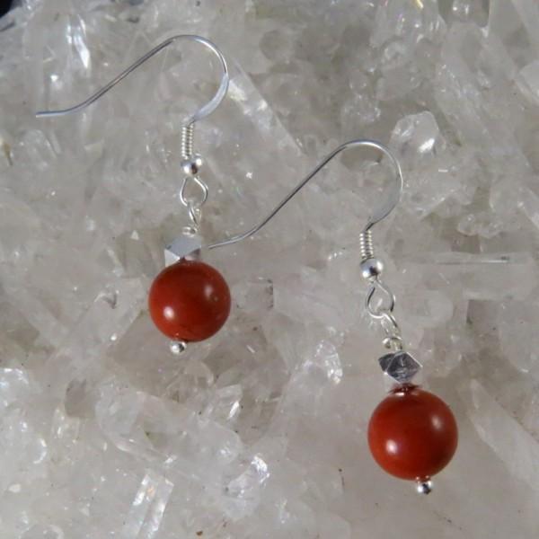Pendientes jaspe rojo y plata