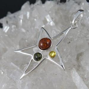 Colgante estrella ámbar y plata