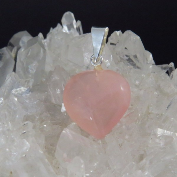 Colgante Cuarzo Rosa y Plata. Corazón | La Tienda de los Minerales