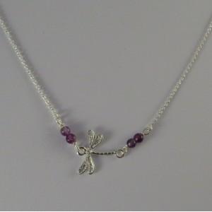 Collar libélula plata y amatista | La Tienda de los Minerales