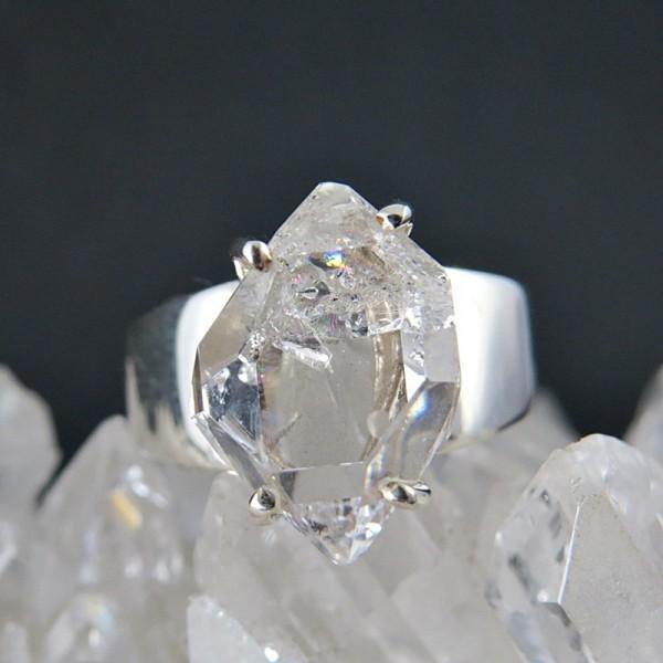 Anillo diamante Herkimer y plata
