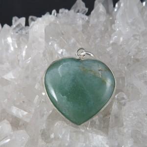 Colgante corazón cuarzo verde y plata