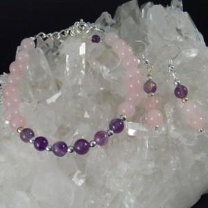Conjunto cuarzo rosa, amatista y plata