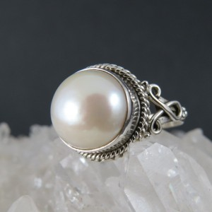 Anillo perla y plata
