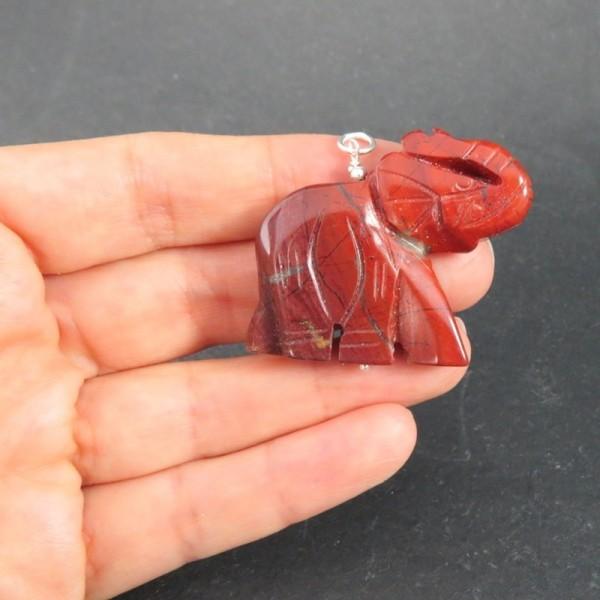 Colgante elefante jaspe rojo