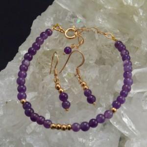 Oro Rosa - Conjunto amatista y oro rosa - La Tienda de los Minerales