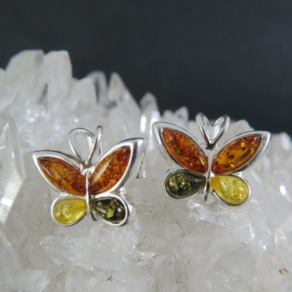 Pendientes mariposas ámbar y plata