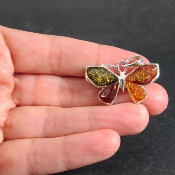 Colgante mariposa ámbar y plata