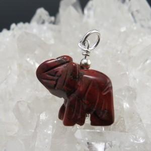 Colgante de Jaspe Rojo - elefante jaspe rojo - La Tienda de los Minerales