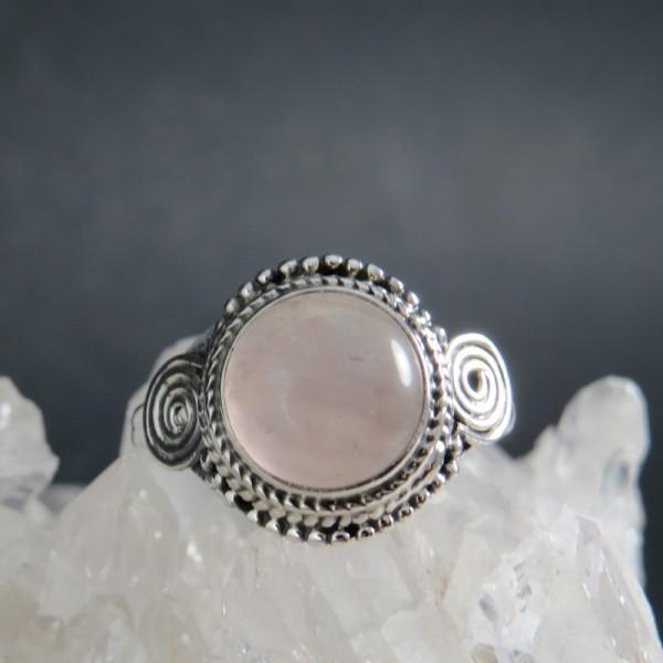 Anillo cuarzo rosa y plata