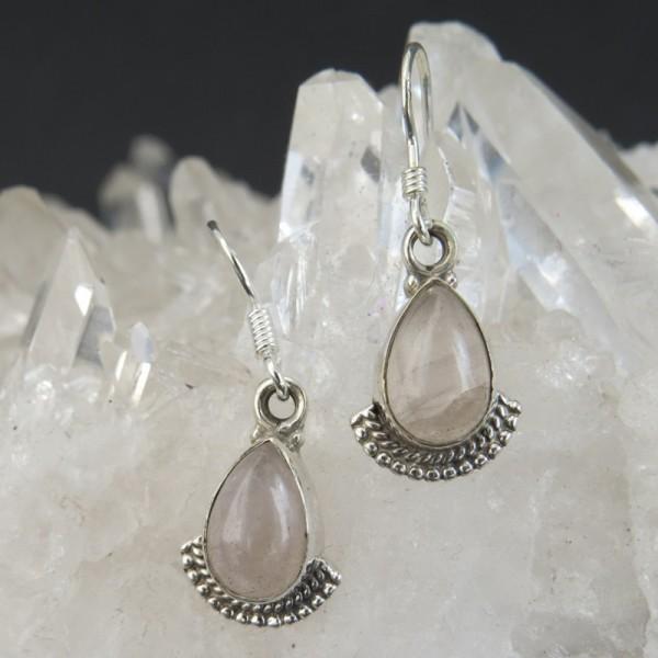 Pendientes cuarzo rosa y plata