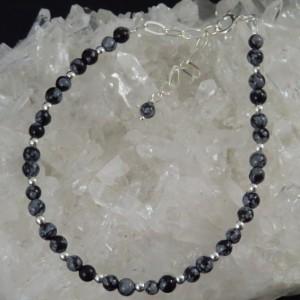 Pulsera Tobillera obsidiana nevada y plata