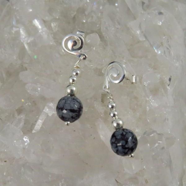 Pendientes obsidiana nevada y plata