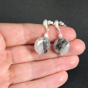 Pendientes cuarzo turmalinado y plata