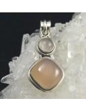 Colgante cuarzo rosa y plata - La Tienda de los Minerales