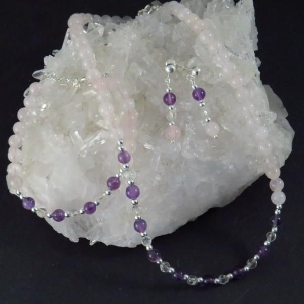Conjunto cuarzo rosa, amatista, cuarzo cristal de roca y plata