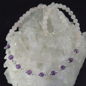 Collar cuarzo rosa, amatista, cuarzo cristal de roca y plata