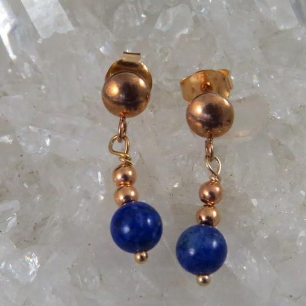 Pendientes lapislázuli y oro rosa - La Tienda de los Minerales