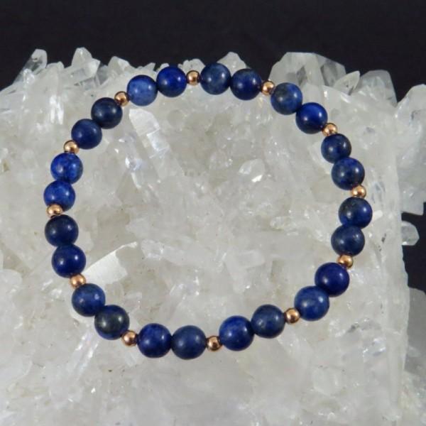 Pulsera lapislázuli y oro rosa - La Tienda de los Minerales