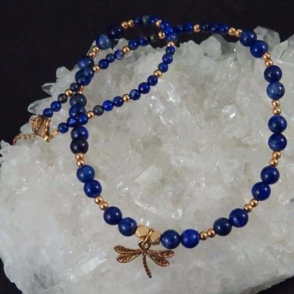 Collar lapislázuli y oro rosa - La Tienda de los Minerales