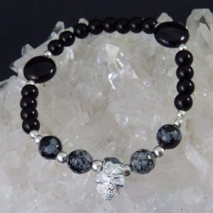 Pulsera calavera plata, obsidiana nevada y ónix