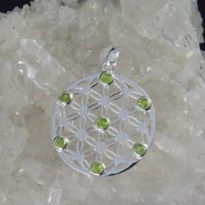 Colgante flor de la vida olivino y plata