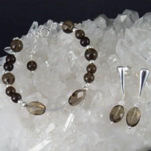 Conjunto cuarzo ahumado y plata