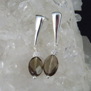 Pendientes cuarzo ahumado y plata