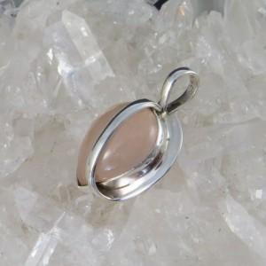 Colgante  cuarzo rosa y plata