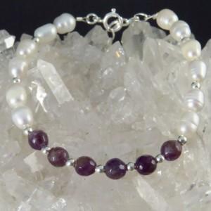Pulsera perla, amatista y plata