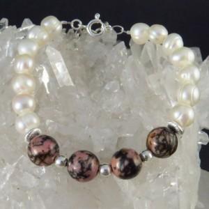 Pulsera perla, rodonita y plata