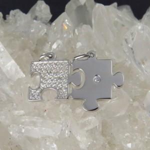 Colgantes puzzle plata y circontas
