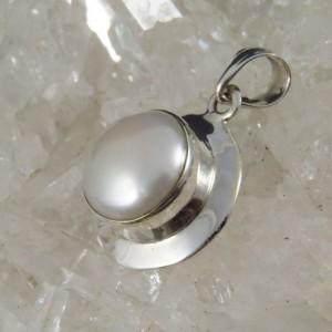 Colgante perla y plata