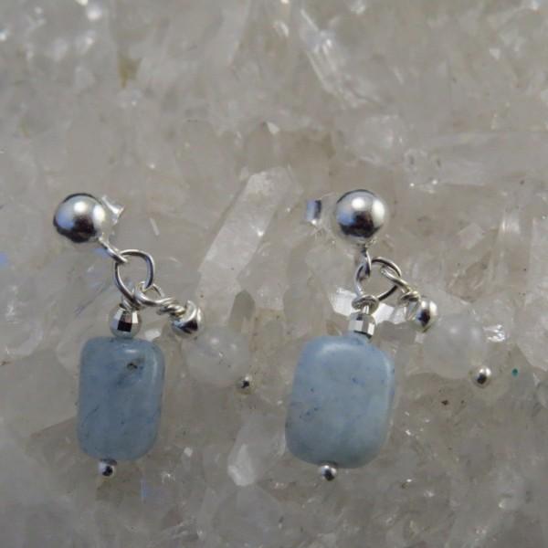 Pendientes piedra luna, aguamarina y plata