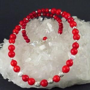 Collar coral y plata