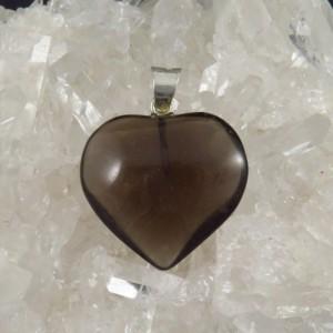 Colgante corazón cuarzo ahumado y plata