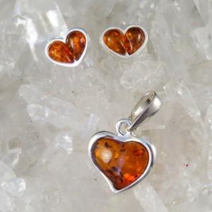 Conjunto corazón ámbar y plata