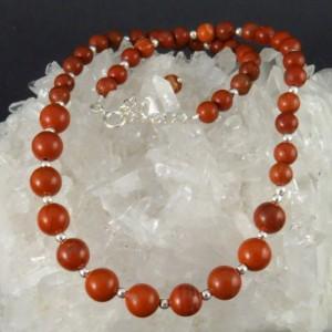 Collar jaspe rojo y plata