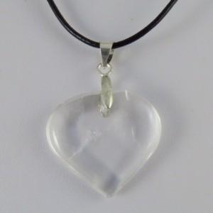 Colgante corazón cuarzo cristal de roca y plata