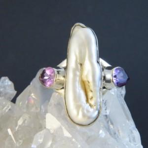 Anillo perla, amatista  y plata