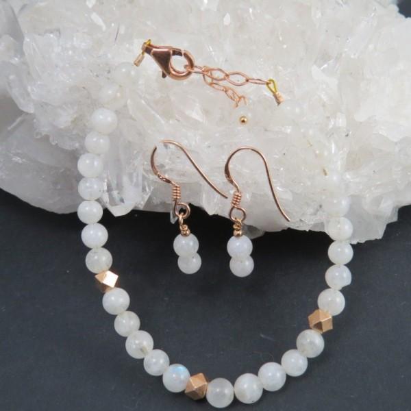 Conjunto piedra luna y oro rosa - La Tienda de los Minerales