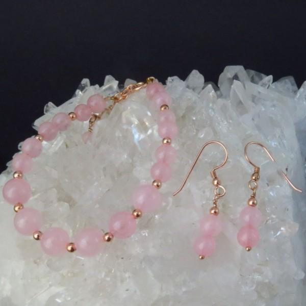 Conjunto cuarzo rosa y oro rosa