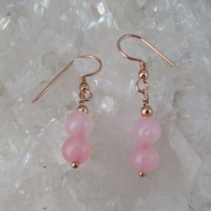Pendientes cuarzo rosa y oro rosa