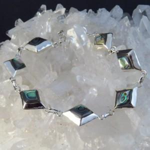 Pulsera  abalón, nácar y plata 925 mm